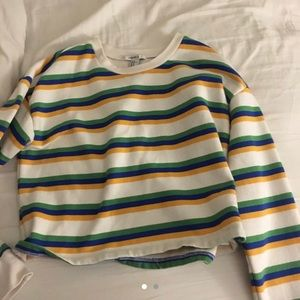 Colorful striped forever 21 cropped sweat shirt
